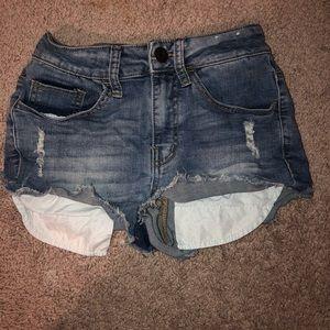 High waisted medium wash shorts